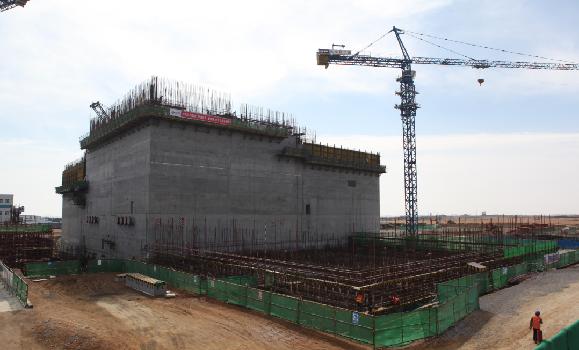 图为正在建设中的石岛湾高温气冷堆核电站核岛主体工程